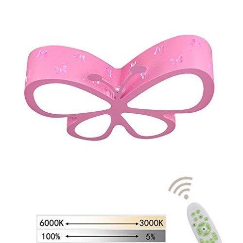 LED Deckenleuchte Kinder Dimmbar Kreative Modern Schmetterlinge Design Leuchten Deckenlampe mit Fernbedienung Metall Acryl Lampenschirm Kinderzimmer Wohnzimmer Büro Mädchen Innen Dekoration lampe (A)
