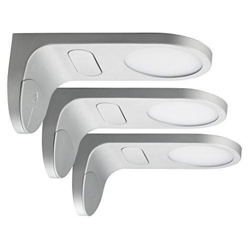 SEBSON® LED bajo mueble empotrable, touch función, blanco cálido 3000K, 3x 3,5W, 3x 230lm, lampara armario para cocina, salón, vitrina, pack de 3