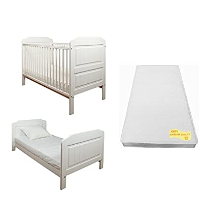 Stanley Cotbed Package In WHITE : Includes Stanley Cot Bed And Junior Bed PLUS The Best Selling KATY® Sprung Mattress