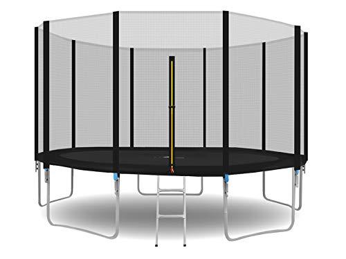 MALATEC Gartentrampolin Outdoor Trampolinmit Sicherheitsnetz und Leiter bis 150 kg Komplettset inkl.Außennetz 180/305/366cm 2215, Größe:366-374cm