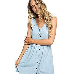 Roxy Central Park Chill - Robe sans Manches boutonnée - Femme - M - Bleu