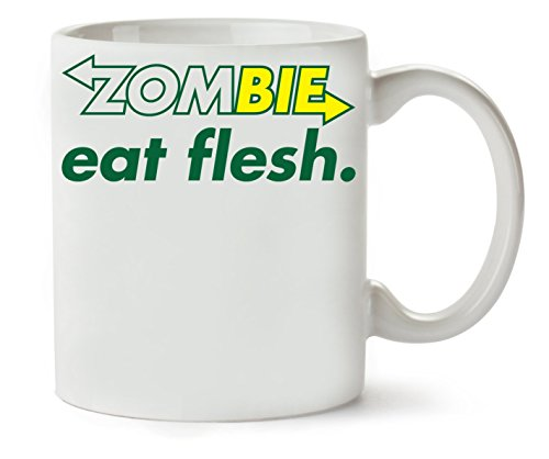 1GD Zombie Eat Flesh Funny College Life Slogan Klassische Teetasse Kaffeetasse