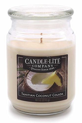 Candle lite–candela profumata in barattolo di vetro, tahitian coconut colada 510g, bianco, 10x 10x 14.5cm