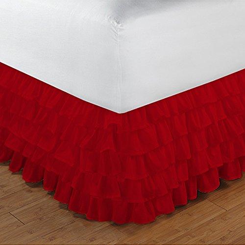 600TC 100% cotone egiziano, finitura elegante 1pcs multi Ruffle Giroletto A Goccia (lunghezza: 25cm), Cotone, Brick Red Solid, Single_Extra_Long Blood Red Solid