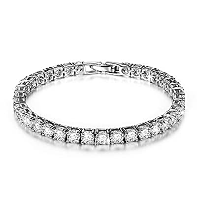 "Pauline & Morgen ""Eternity"" White Gold Plated Copper Cubic Zirconia Tennis Women Bracelet - Very dainty and minimalistic in its look, it makes a bold statement of sheer elegance"