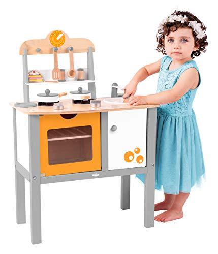 Olymptoys 'Woody Madera de Niños Cocina Buona Cucina con Accesorios. 17Piezas para niños a Partir de 3años. SAFEPRINT Toys Geprüft