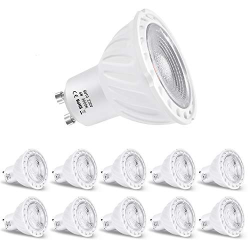 Zikey 6W GU10 Bombilla LED, Luz Blanca Cálida 3000K, Equivalente a 60W...