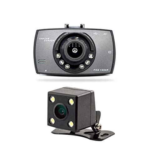 Prima05Sally 2,7 Zoll 6 Lichter Nachtsicht Doppelobjektiv Auto DVR Kamera Full HD 1080P Weitwinkel Externe Rückfahrkamera H.264 G-Sensor Dash Cam H. 264 Cam