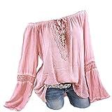 Damen Langarmshirt, Frashing Carmen-Bluse mit Häkeleinsatz Tunika mit Spitzenapplikation Langärmeliges T-Shirt mit Lochstickerei V-Ausschnitt Shirt Große Größe, S-5XL