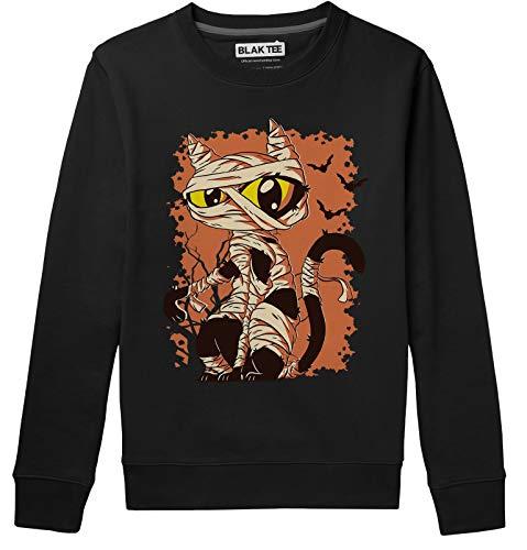 BLAK TEE Cute Halloween Mummy Cat Unisex Damen Herren Pullover Sweatshirt S