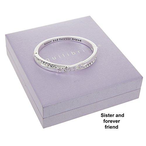 """Equilibrium - Bracciale rigido con messaggio nascosto """"Sister And Forever Friend"""" placcato argento con strass decorativi"""