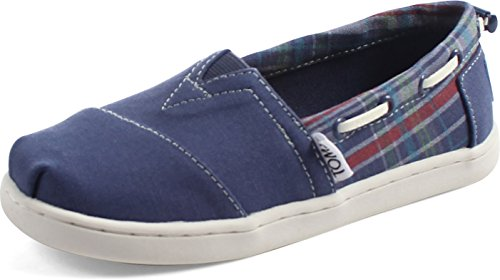 TOMS Unisex-Child-Schuhe in Schwarz Chambray, Navy Canvas Plaid - Größe: 36 EU (Kinder-schuhe Navy Plaid)