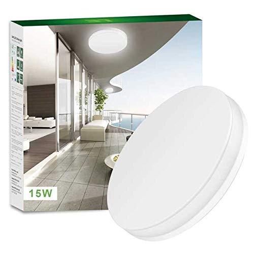 LE Deckenleuchte, 15W ersetzt 100W Glühbirne, led Deckenlampe 1250lm Kaltweiß, ideal für Badezimmer, Balkon, Flur, Bad, Küche, Wohnzimmer usw.