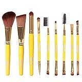 Saingace Make up Pinsel 9 PC Pro-Verfassungs-kosmetischer Bürsten-Augenschminke -Augen-Schatten-Stiftung Blending Brush Gelb