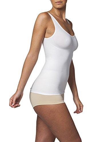 SLEEX Figurformendes Damen Unterhemd (mit Support) (44041), Weiss, Groesse M/L