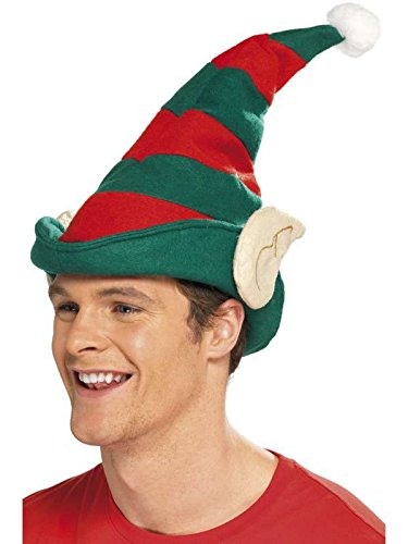 Dwarf Hat Red and Green Striped with Ears Red Hat Bonnet