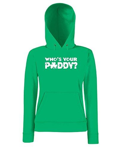 T-Shirtshock - Sweatshirt a capuche Femme TIR0223 whos your paddy tshirt Vert