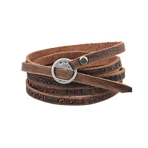 Juland Mehrschichtiges Leder Wickelarmband Multi Double Manschette Armband Unisex-Gürtel Verstellbarer Armreif Männerfrauen - Hellbraun graviert -