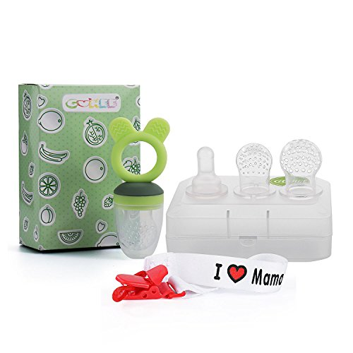 Baby Fruchtsauger GUHEE Lebensmittel Silikon Schnuller Beißring Gemüsesauger mit Schnuller Clips und 3 Silikon Nippel Ersatz (Grün)