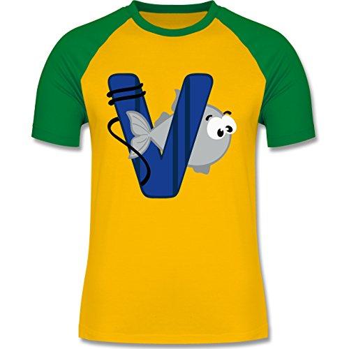 Anfangsbuchstaben - V Schifffahrt - zweifarbiges Baseballshirt für Männer Gelb/Grün