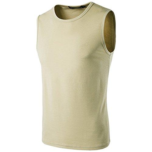 Zhhlinyuan gemütlich Mens Sleeveless Summer Sports Vest Cotton Tank Top T Shirt Khaki