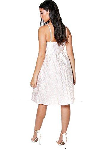Erröten Damen Boutique Shima Blumen Jacquard Midi Kleid Erröten