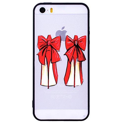 WE LOVE CASE iPhone SE / 5 / 5S Hülle Schuhe mit Hohen Absätzen Weiß Scheuern Relief Style iPhone SE / 5 / 5S Hülle Rote Schutzhülle Handyhülle Handytasche Handycover PC Harte Case Anti-Scratch Handy  High heels