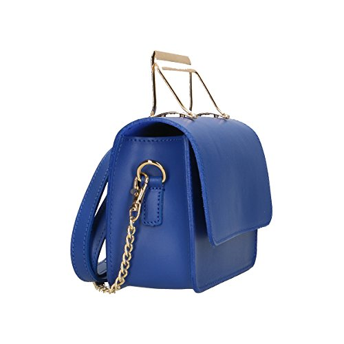 Chicca Borse Borsa a tracolla in pelle 20x14x7 100% Genuine Leather Blue