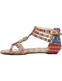 NiSeng Mujer Sandalias Planas Bohemia Adorno De Rhinestone Romanas Zapatos De Hebilla De Clip Del Dedo Del Sandals