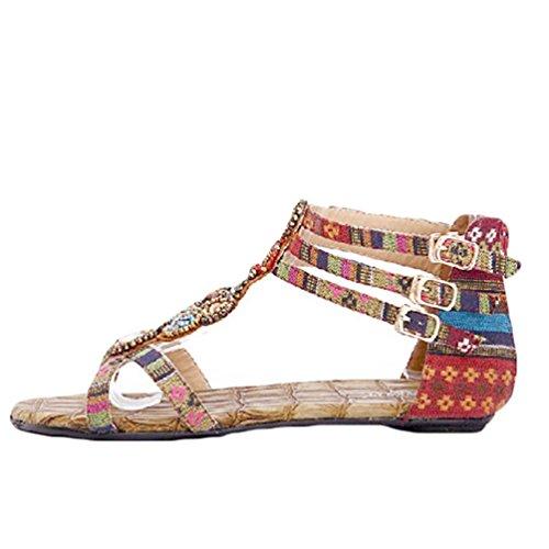 NiSeng Donna Boemia Strass Sandali Vintage In Rilievo Piatti Sandali Estate Sandali Da Spiaggia Vino Rosso