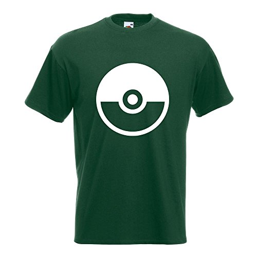 KIWISTAR - Pokeball - Meisterball - Catch them all T-Shirt in 15 verschiedenen Farben - Herren Funshirt bedruckt Design Sprüche Spruch Motive Oberteil Baumwolle Print Größe S M L XL XXL Flaschengruen