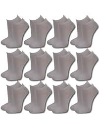 Lavazio Lot de 12 paires de socquettes pour femmes, hommes et adolescents Noir/blanc/couleur