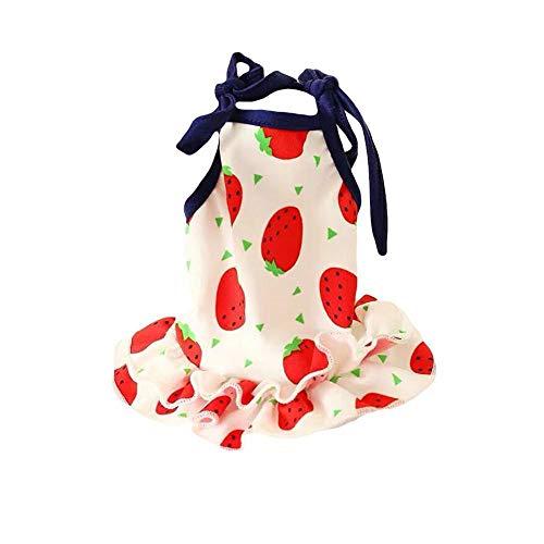 LIWEISDSDFS Sommer Haustier Kleidung Hund Kleidung Kleine Hunde Katze Erdbeere Banane Wassermelone T-Shirt Weste Rock Kleidung Kleiner Hund Kleid (Hunde Banane Kostüm)