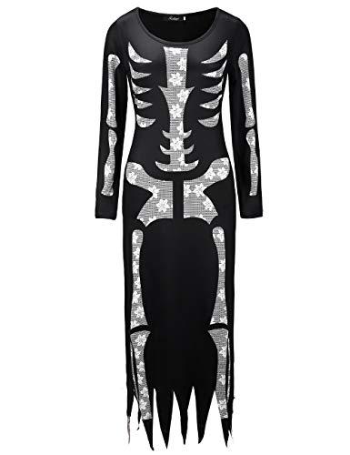 (KDSANSO Halloween Skelett - Kostüm Damen,Women's Skeleton Costume Tube Dress with Long Sleeves,Schwarz XL)