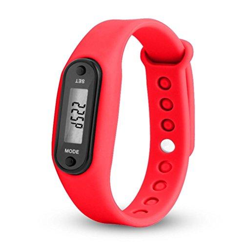 OHQ Run Step Watch Armband Schrittzähler Kalorienzähler Digital LED Walking Distance Pedometer mit Uhr Watch Stepcounter Kalorienzähler Sportuhr (Red)