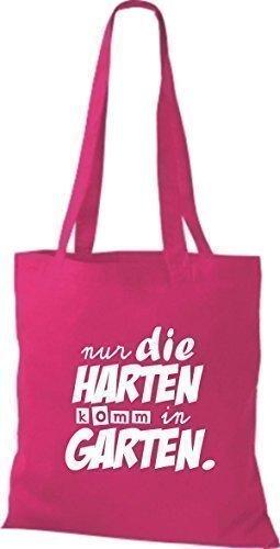 ShirtInStyle Stoffbeutel Baumwolltasche Typo nur die Harten komm in Garten Farbe Pink pink