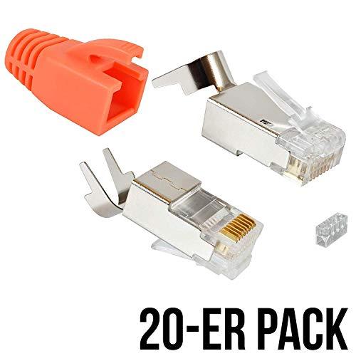 VESVITO 20er Pack Crimpstecker RJ45 CAT 6A, CAT 7 geschirmt, mit Knickschutz in Orange und Einfädelhilfe Stecker Verlegekabel Netzwerk LAN Kabel Netzwerkstecker Modular Plug Steckverbinder CAT7 -