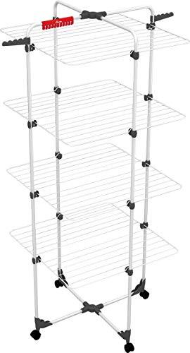 Vileda Mixer 4 - Tendedero vertical de torre de acero, 40 metros de espacio de tendido, 4 rejillas, soporte para ropa pequeña y perchas, dimensiones abierto 169 x 71 x 71 cm, color blanco