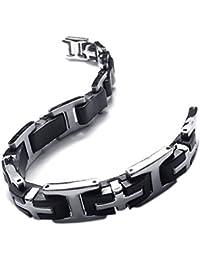 KONOV Schmuck Herren Armband, Edelstahl Kautschuk Kreuz, Schwarz Silber