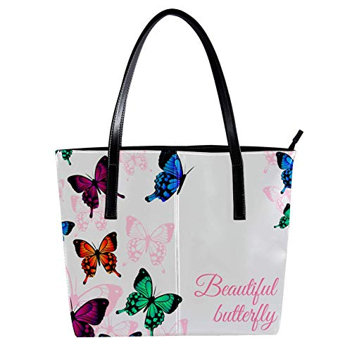 Women's Bag Shoulder Tote handbag with Colored Butterflies Flying print Zipper Purse PU Leather Top-handle Zip Bags -