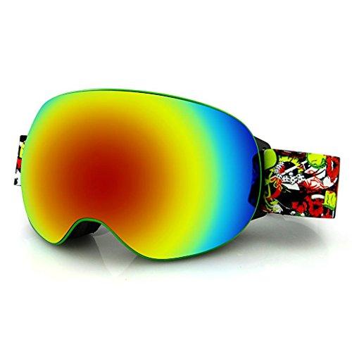 Face North Jacke Ski Frauen (HCFKJ Rahmenlose Sphärische Ski Spiegel Doppel Anti-Fog Anti-Glare Ultra-Wide Sichtfeld Rutschfeste Elastizität Goggles Karte Myopie Outdoor-Schnee Brille)