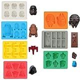 Sunerly Coque en silicone bac à glaçons Moules dans Star Wars personnage formes, idéal pour le chocolat, bacs à glaçons, gelée, bonbons, desserts, Moule Savon et la fabrication de bougies (lot de 7)