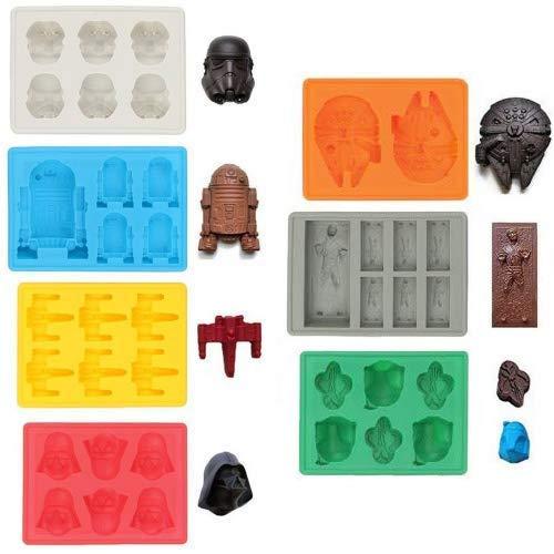 rmen / Silikonförmchen in Form von Star-Wars-Charakteren, ideal für Schokolade, Eiswürfel, Wackelpudding, Süßigkeiten, Desserts, Backwaren, Seife und Kerzen (Set mit 7Formen) ()