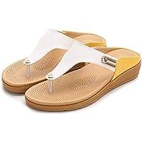 Sandalias Planas Mujer Verano,Amarillo Bohemio Flip Flops Sandals,Roman Zapato Zapato Abierto Sandalias De Playa Estilo Boho Sandalia Plataforma Antideslizante De Vacaciones Al Aire Libre Amplia Fit
