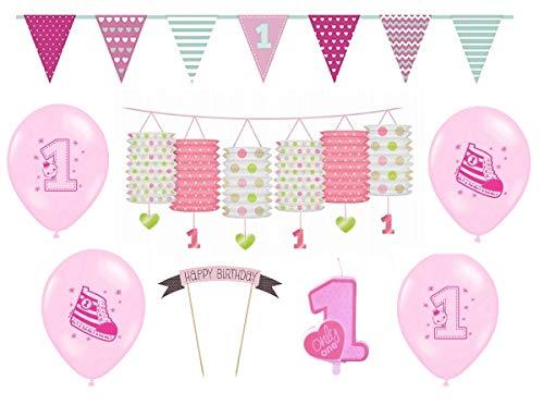 Geburtstagsdeko erster 1 Geburtstag | 8 Teile für Mädchen Deko Set rosa pink | Happy Birthday kleine Prinzessin ()