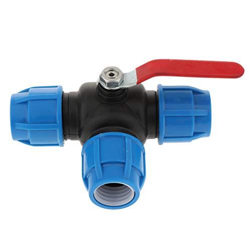 PE 3 Wege Schlauchtülle Wasserschlauch Verbindungsstück Gartenschlauch Schnellkupplung Verbinder mit Ventil - 32mm Stahlkern