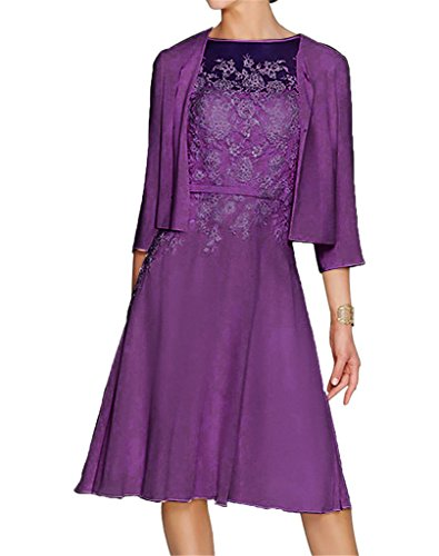 HWAN Damen A Line Applikationen Kurz Mutter der Braut Kleid mit Jacke Bolero Lila