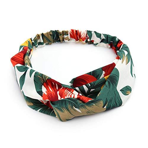 JWTS Haarschmuck Damen Vintage Stirnbänder Retro Floral bedruckt Damen Classic Cross Hair Bands Turban Headwear Headwrap Trendy, Grün-r6yk