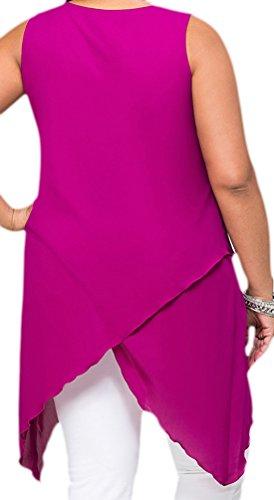 erdbeerloft - Damen Asymmetrisches Plus Size Top, Tanktop, L-3XL, Viele Farben Pink