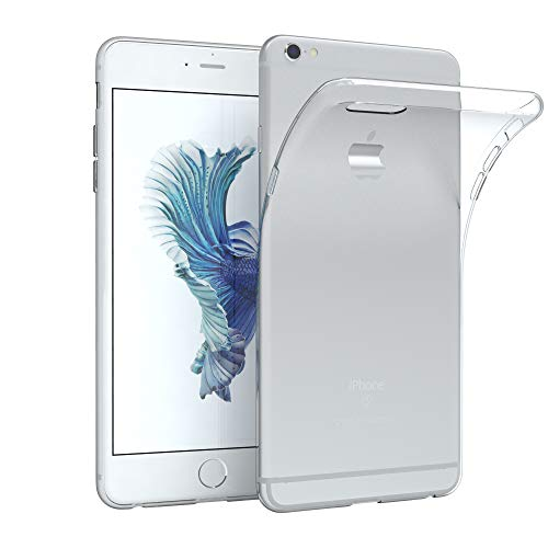 EAZY CASE Hülle für Apple iPhone 6 Plus / 6S Plus Schutzhülle Silikon, Ultra dünn Slimcover, Handyhülle, Silikonhülle, Backcover, Transparent/Durchsichtig, Transparent